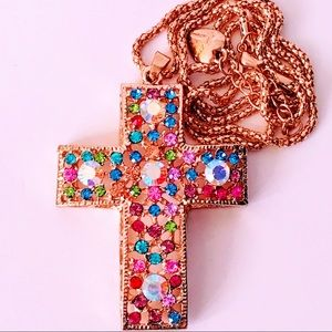 NEW! COLORFUL CRYSTAL CROSS SWEATER NECKLACE